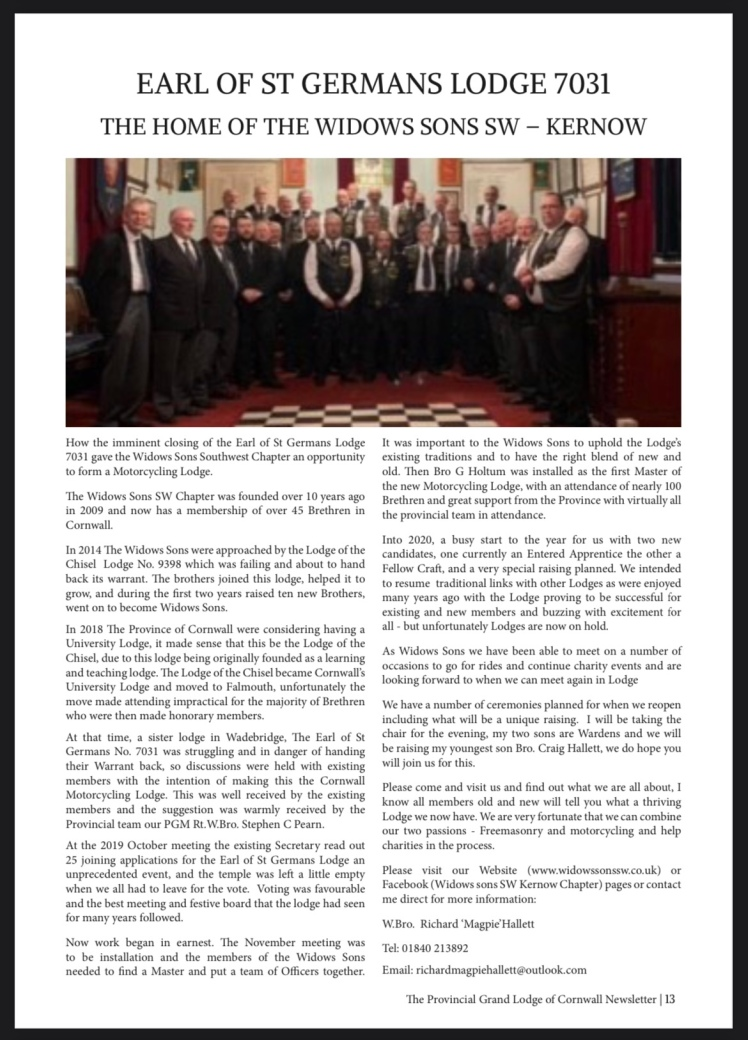 Provincial Grand Lodge of Cornwall Newletter